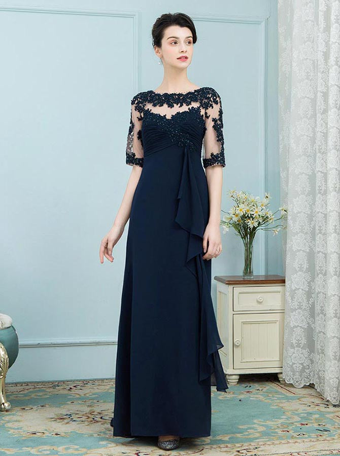 Wedding Guest Dresses With Sleeves.Dark Navy Mother Of The Bride Dresses Mother Dress With Sleeves Wedding Guest Dress Long Md00005
