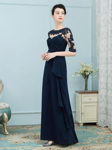 Dark Navy Mother of the Bride Dresses,Mother Dress with Sleeves,Wedding Guest Dress Long,MD00005