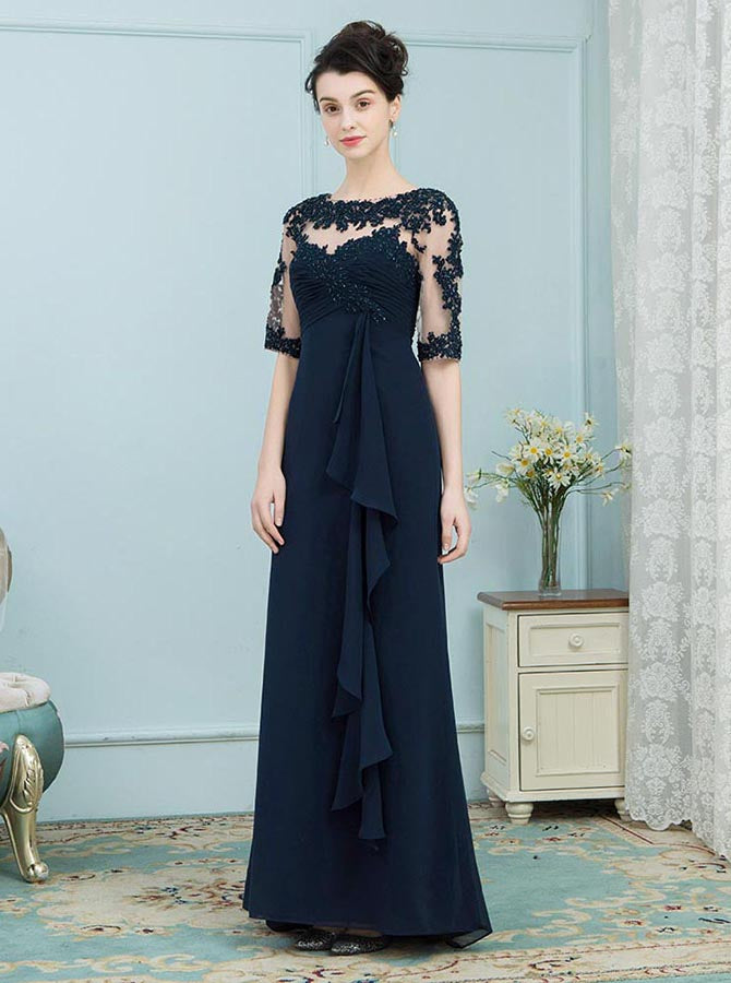 Dark Navy Mother Of The Bride Dresses Mother Dress With Sleeves Wedding Guest Dress Long Md00005