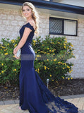 Dark Navy Off-the-shoulder Prom Dress,Lace Evening Dress,Long Prom Dress with Sweep Train PD00048