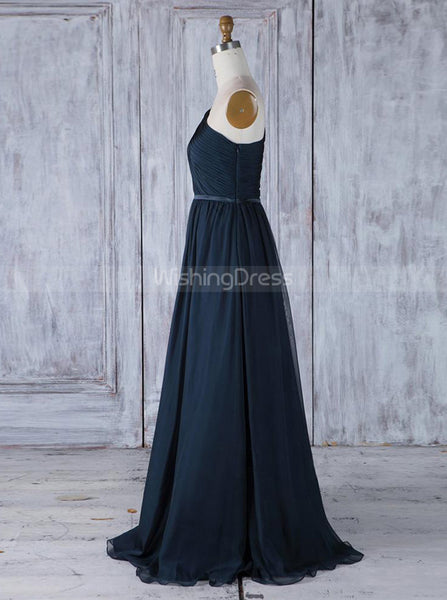 Dark Navy One Shoulder Bridesmaid Dresses,Simple Bridesmaid Dress,BD00362