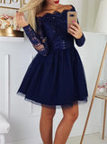 Dark Navy Party Dresses with Sleeves,Off the Shoulder Short Homecoming Dress,HC00167
