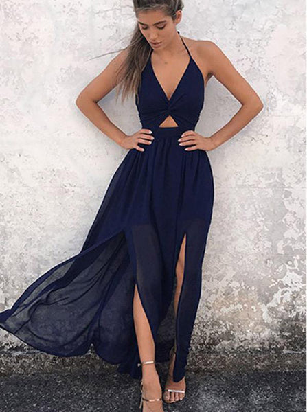Dark Navy Prom Dress,Two Piece Prom Dress,Chiffon Prom Dress,Backless Evening Dress PD00187
