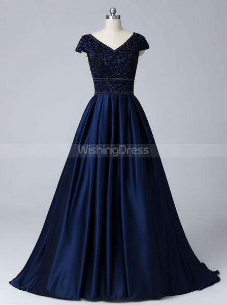 Dark Navy Prom Dress with Cap Sleeves,Satin Modest Evening Dress,PD00438