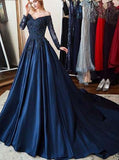 Dark Navy Prom Dress with Sleeves,Modest Prom Dress Satin,PD00447