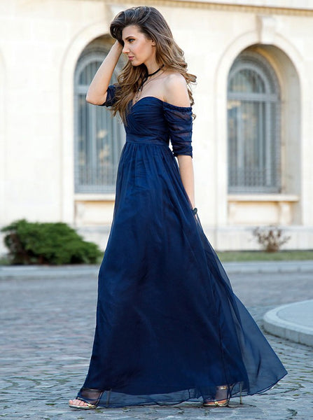 Dark Navy Prom Dresses,Prom Dress with Sleeves,Long Prom Dress,PD00267