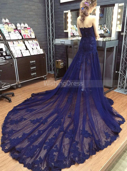 Dark Navy Prom Dresses,Tulle Long Evening Dress,Strapless Fitted Prom Dress,PD00356