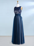 Dark Navy Prom Dresses,Tulle Prom Dress,Floor Length Prom Dress,PD00339