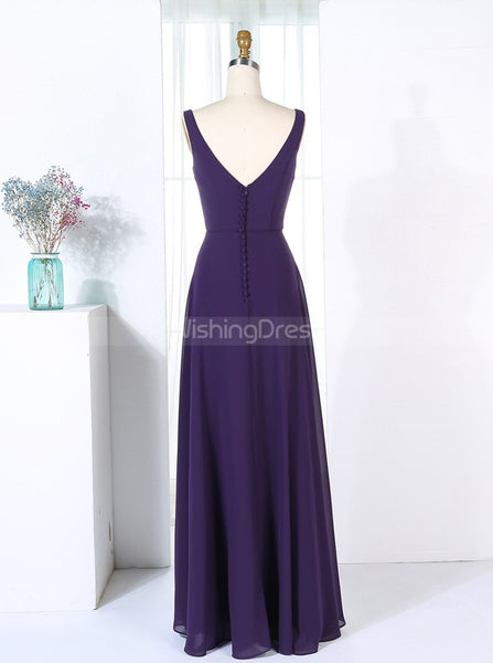 Dark Purple Bridesmaid Dresses,Long Chiffon Bridesmaid Dress,BD00283