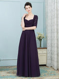 Dark Purple Mother of the Bride Dresses,Empire Waist Mother Dress,Mother Dress with Sleeves,MD00010
