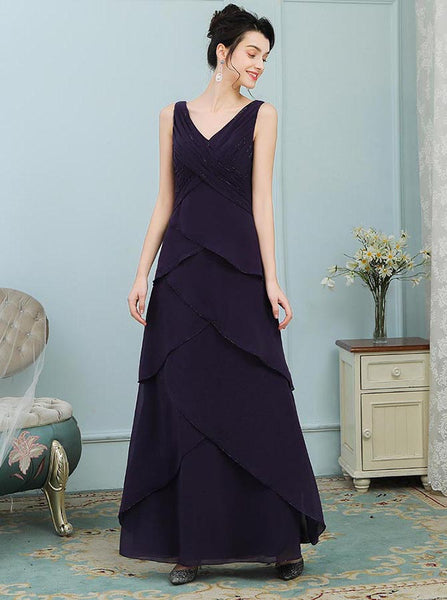 Dark Purple Mother of the Bride Dresses,Ruffled Mother Dress,Full Figure Mother Dress,MD00002