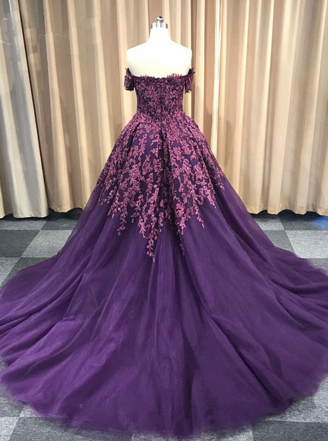 cddc605cb3b Dark Purple Prom Ball Gown