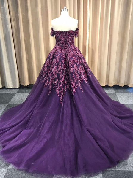 Dark Purple Prom Ball Gown,Off the Shoulder Prom Gowns,Princess Prom Gowns,PD00301