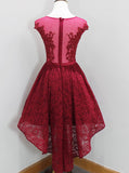 Dark Red Prom Dress,Lace Homecoming Dress,High Low Prom Dress,PD00346