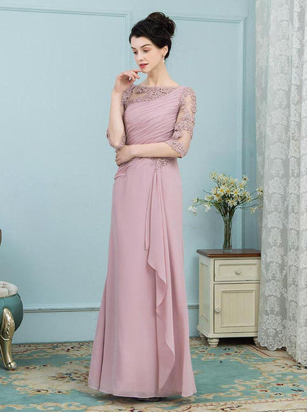 Dusty Rose Mother of the Bride Dresses,Chiffon Long Mother Dress,Mother Dress with Sleeves,MD00021