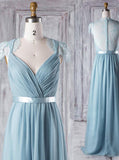 Elegant Bridesmaid Dress with Cap Sleeves,Chiffon Bridesmaid Dress,BD00356
