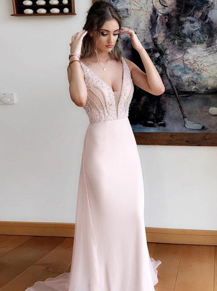 Elegant Chiffon Prom Dress with Train,Evening Dress with Beaded Top,V Neck Prom Dress Long PD00162