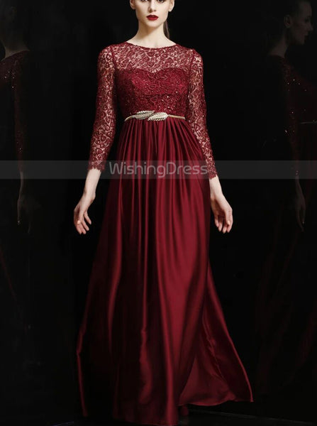 Elegant Mother of the Bride Dress with Sleeves,Floor Length Mother Dress Fall,MD00070