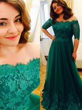 Emerald Plus Size Prom Dresses,Off the Shoulder Plus Size Prom Dress,PD00322