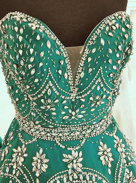 Emerald Prom Dresses,A-line Satin Prom Dress,Beaded Sweetheart Prom Dress,PD00344