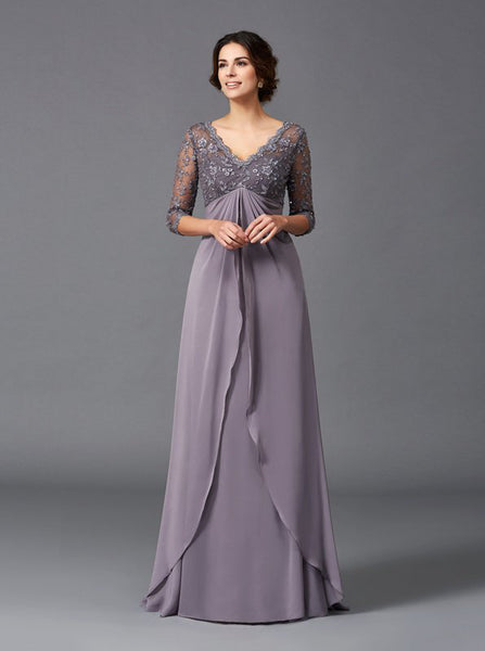 Empire Waist Mother of the Bride Dress with 3/4 Sleeves,MD00055
