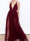 Evening Dress with Straps,Floor Length Prom Dress,Tulle Prom Dress,Backless Prom Dress PD00189