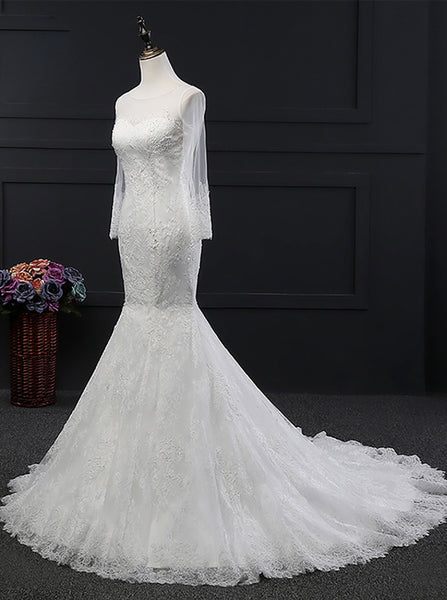 Fit and Flare Wedding Dresses,Lace Wedding Dress,Open Back Wedding Dress,WD00141