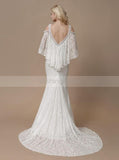 Fit and Flare Wedding Dresses,Lace Wedding Dress,Wedding Dress with Sleeves,WD00199