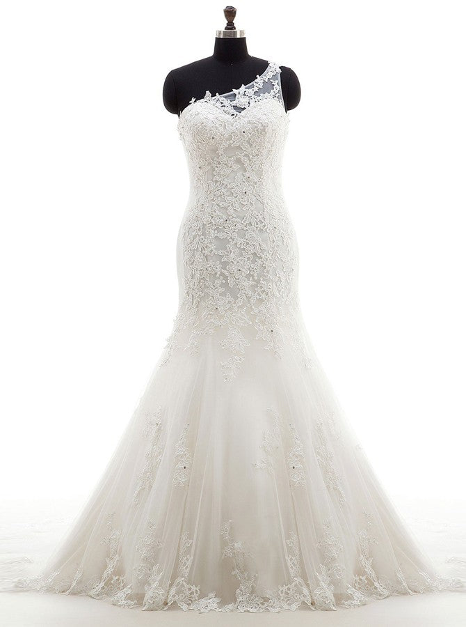 Fit And Flare Wedding Dresses One Shoulder Wedding Dress Lace
