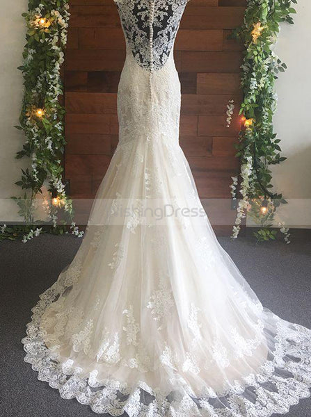 Fit and Flare Wedding Dress,Lace Wedding Dresses,Fitted Bridal Dress,Modern Bridal Dress,WD00146