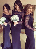 Fitted Bridesmaid Dress,Bridesmaid Dress with Long Sleeves,Off the Shoulder Bridesmaid Dress,BD00007