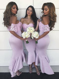 Fitted Bridesmaid Dress,High Low Bridesmaid Dress,Homecoming Dress with Lace Sleeves,BD00143