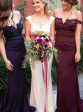 Fitted Bridesmaid Dress,Off the Shoulder Bridesmaid Dress,Satin Bridesmaid Dress with Train,BD00023