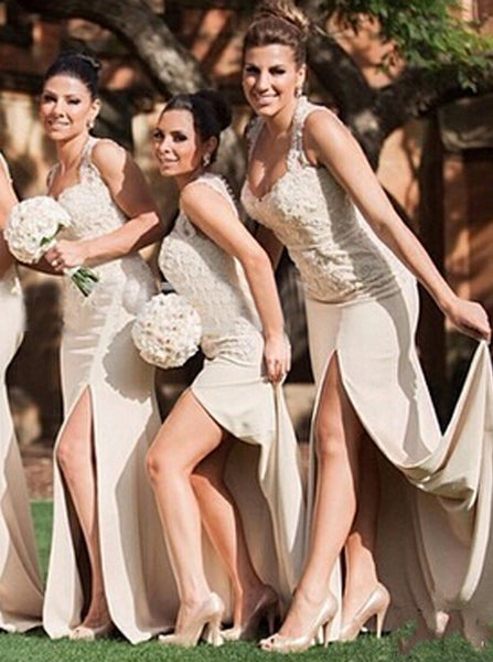 Fitted Bridesmaid Dress with Slit,Sweetheart Bridesmaid Dress,Long Ivory Bridesmaid Dress,BD00049