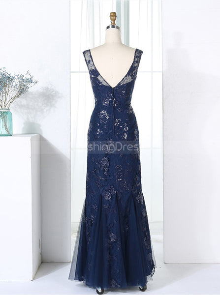 Fitted Bridesmaid Dresses,Dark Navy Bridesmaid Dress,Tulle Lace Bridesmaid Dress,BD00292