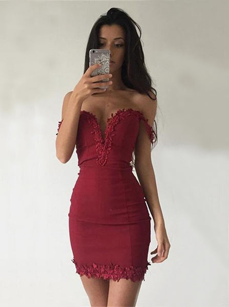 Fitted Homecoming Dresses,Off the Shoulder Homecoming Dress,Burgundy Cocktail Dress,HC00183