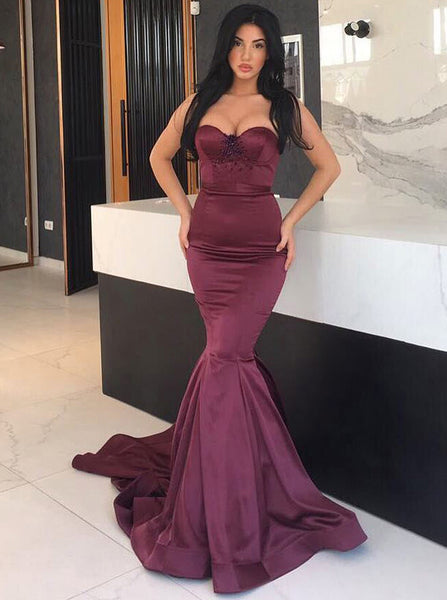 Fitted Mermaid Prom Dress,Strapless Evening Dress with Train,Modest Evening Dress PD00053