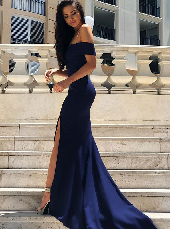 Fitted Off the Shoulder Prom Dress with Slit,Evening Dress