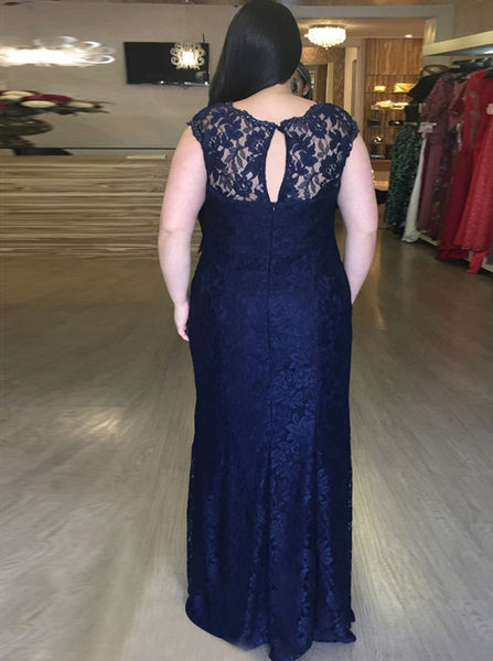 Fitted Plus Size Prom Dresses,Lace Plus Size Prom Dress,Dark Navy Plus Size Prom Dress,PD00253