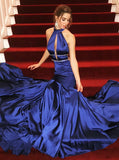 Fitted Royal Blue Prom Dress,Elastic Satin Long Prom Dress,Modest Evening Dress PD00142