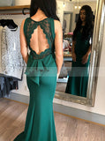 Fitted Satin Evening Dress,Backless Prom Dress,Formal Prom Dress with Train PD00033