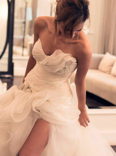 Fitted Wedding Dress with Slit,Pickup Wedding Dress,Strapless Bridal Dress,WD00282
