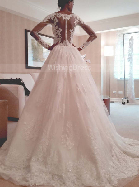 Fitted Wedding Dresses with Long Sleeves,Tulle Wedding Dress with Overskirt.WD00316