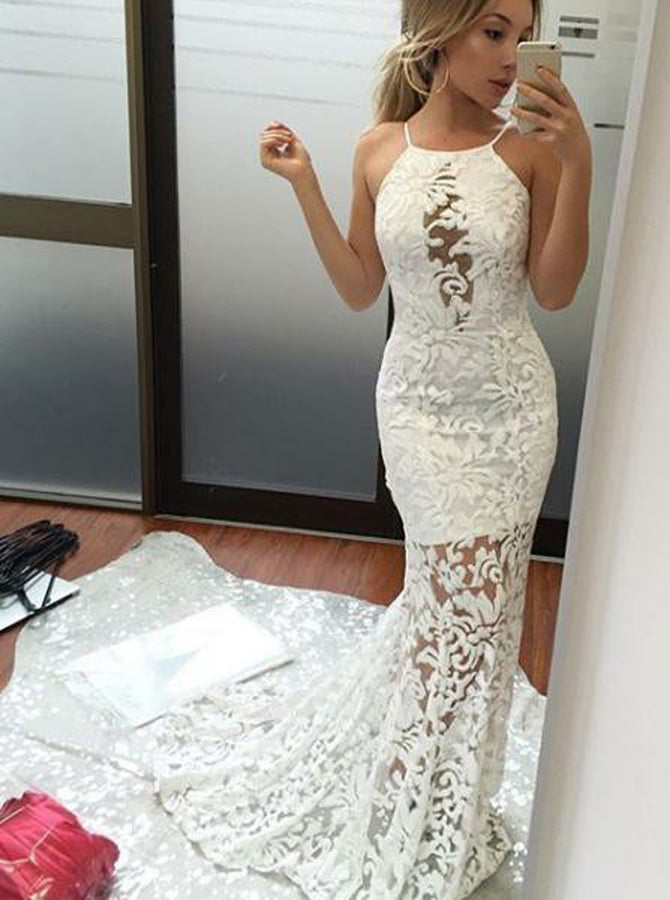 clearance sale fashion styles uk availability Fitted White Evening Dress,Open Back Evening Dress with Train,Lace Prom  Dress PD00072