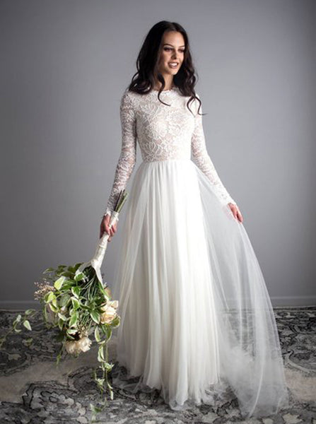 Floor Length Wedding Dress,Modest Wedding Dress with Long Sleeves,WD00427