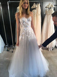Floral Wedding Dresses,Aline Wedding Dress,Strapless Wedding Dress,Tulle Bridal Dress,WD00193