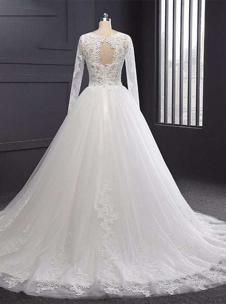 Formal Wedding Dresses,Wedding Dress with Sleeves,Classic Bridal Gown,Ball Gown Wedding Gown,WD00074