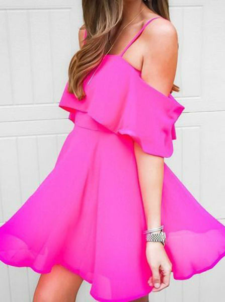 Fuchsia Cocktail Dresses,Chiffon Homecoming Dress,Spaghetti Straps Cocktail Dress,CD00046