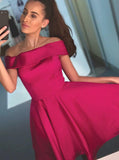 Fuchsia Homecoming Dresses,Off the Shoulder Homecoming Dress,HC00193