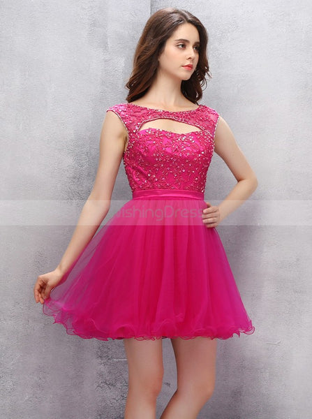 Fuchsia Homecoming Dresses,Short Homecoming Dress,Homecoming Dress for Teens,HC00039
